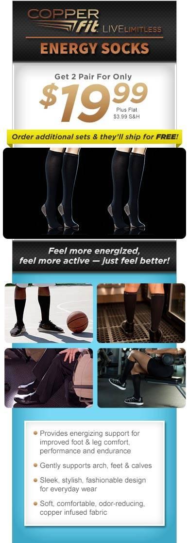 Copper Fit Energy Socks Graduated Compression Designed